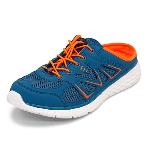 LEKANN No.314 Damen Herren| Sabot Pantoletten Slipper Sneaker Clogs | Leicht Atmungsaktiv | Marineblau/Orange Gr. 42 EU