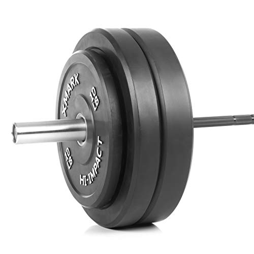 XMark Deadlift Voodoo Olympic Bar and 300 lb XM-3393 Hi-Impact Commercial Olympic Bumper Set