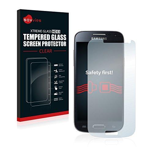 Savvies Panzerglas kompatibel mit Samsung Galaxy S4 Mini - Echt-Glas, 9H Härte, Anti-Fingerprint
