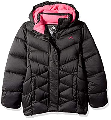 Vertical '9 Girls' Little Quilted Fashion Bubble Jacket, Black, 6X