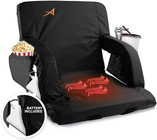 Heated Stadium Bleacher Seat – USB Battery Included - Upgraded 3 Levels of Heat - Foldable Chair -Cushioned Back & Arm Support, 4 Pockets for Snacks, Cup Holder - for Camping, Games & Sports