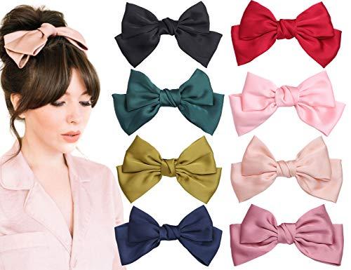 8 Pcs Big Bow Hair Barrettes 8 Inch Satin Solid Hair Bow Handmade Ribbon Bowknot Hair Clips for Women