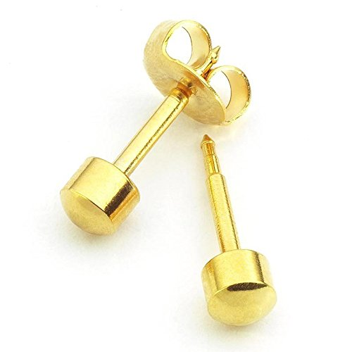 Mytoptrendz Pair Piercing Sterilized Stud Earring 24ct Yellow Gold Plated Ball Set of 2