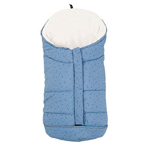 Fusssack für Kinderwagen Babyschale Buggy Tragewanne Baby Schlafsack Winter Fußsack mit 3 Reißverschluss Weicher Winterfußsack für Baby von 0-6 Monate (Blau-Sterne)
