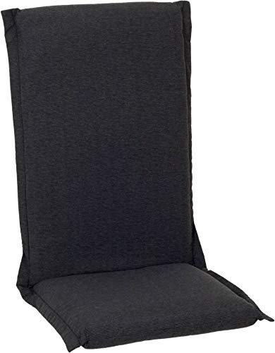 Beo Hochlehner Auflagen Waschbar Ascot | Made in EU Premium Plus Qualität | UV-beständige Gartenstuhlauflagen Hochlehner mit Reißverschluss | Atmungsaktive Stuhlauflagen Hochlehner in Dunkel-Grau