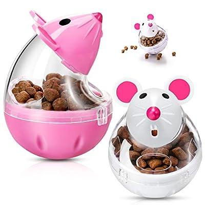 2 Pieces Interactive Cat Food Feeder Cat Food Ball Mice Food Tumbler Mice Shaped Pet Treat Ball Cat Food Toy Ball Pet Food Feeder