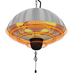 1500W Electric Patio Heater, Colliford Hanging Infrared Heaters with 3 adjustable mode(600/900/1500W), IP55 Waterproof Ceiling Mounted Heater for Outdoor or Indoor Use