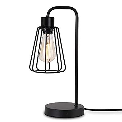 Create for Life Industrial Table Lamp,Farmhouse Desk Lamp, Bedside Nightstand Table Lamp,Reading Light Lamp for Office Bedroom Living Room (E26 Metal Matte Black)
