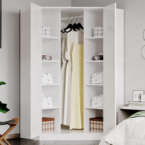 2 Doors Corner Wooden Wardrobes with Shelf & Hanging Rail Large Clothes Storage Cupboards for Bedroom Furniture (White)