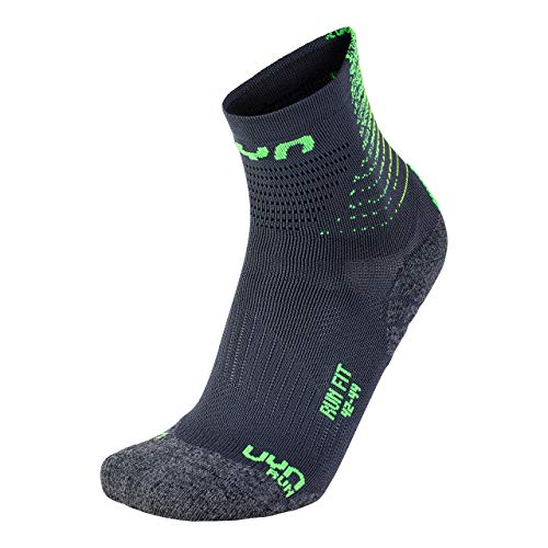 UYN Herren Run FIT Socks Strumpf, Anthracite/Green Lime, 42/44