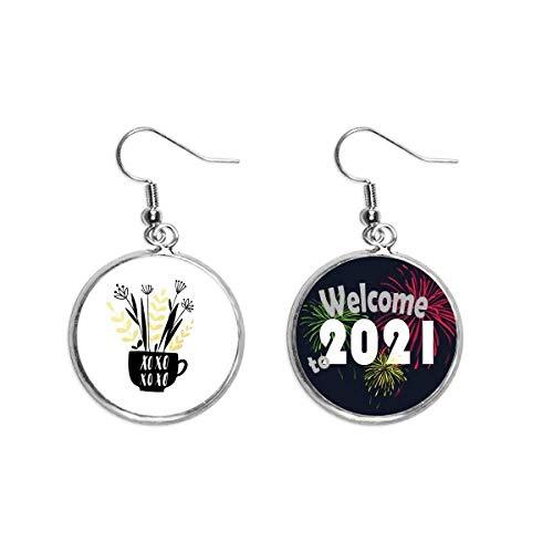 Xoxo - Pendientes de estilo jarrón de flores con cita para orejas (2021)