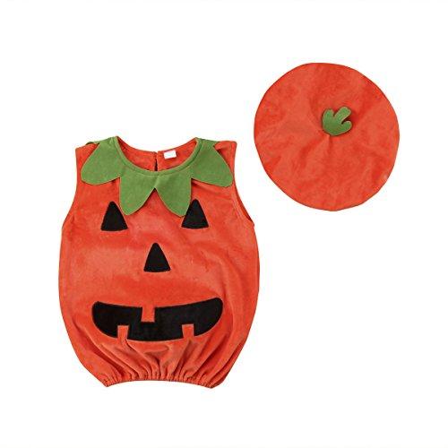 Bebé Disfraz de Halloween 2 Piezas Conjunto de Ropa Festival para Halloween Chaleco de Calabaza Camiseta Larga sin Manga de Cuello Redondo con Botón Trasero + Gorro (Orange, 0-6 Months)
