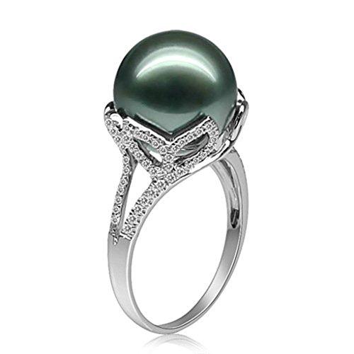 Daesar Silberring Damen Ring Silber Ehering für Damen Verlobungsring Benutzerdefinierte Ring Tahiti Blume Perle Ring Größe:62 (19.7)