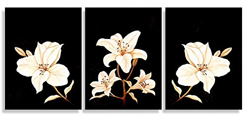 Sweety Decor Triptych Prints Artwork White Lilies Flower Black Background Paintings - Abstract Canvas Wall Art Living Room Decor 3 panel (BLACK, S)