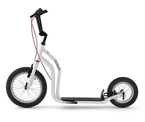 Yedoo City Scooter Run-Run 16/12 Zoll weiß   Tretroller mit Offroad-Reifen   Nachfolgemodell des City New