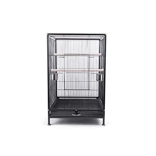 Yuanjiashop Jaula para Loro 75cm Grande del Loro del Cockatiel de la Jaula de pájaros Agapornis Jaula Duradero Negro del Marco de Metal Bird Viaje Jaula Pet Home Accesorios para Pájaros