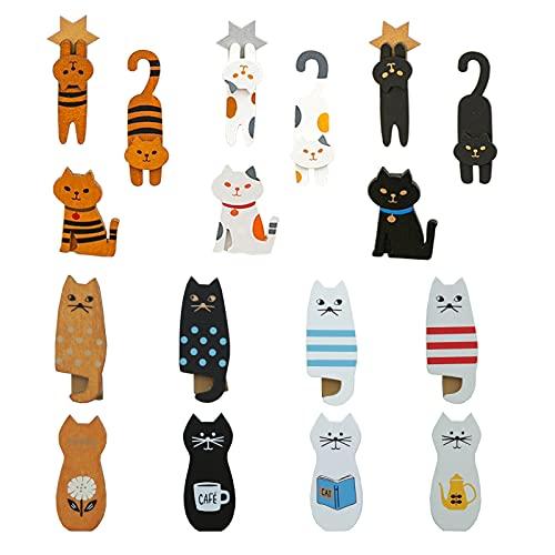 Lustige Katzen Kühlschrankmagnet Holz Kühlschrankmagnet Clips Magnete für Kühlschrank Whiteboard Tier Kühlschrankaufkleber Kühlschrankaufkleber für Kinder Katzenliebhaber (17 Packungen)