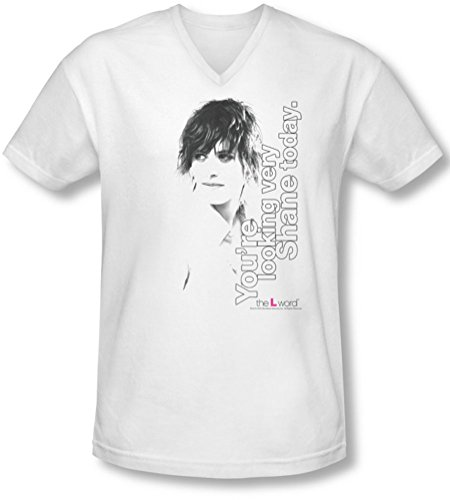 The L Word - - Aujourd'hui, le T-shirt col en V Looking Shane Homme, Large, White