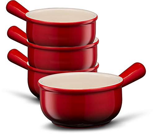 French Onion Soup Crocks, by Kook, Easy to Grip Handles, Durable Ceramic, For Chili and Stew, 18 Ounce, Set of 4, Cherry (Red)