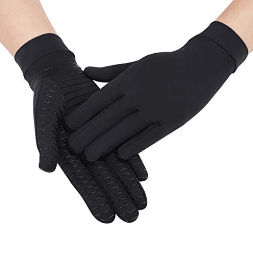 Arthritis Compression Glove for Men Women Elastic Non-Slip Full Finger Copper Compression Gloves for Rheumatoid, Swelling, Tendonitis, Hand Pain Relief, Edema,