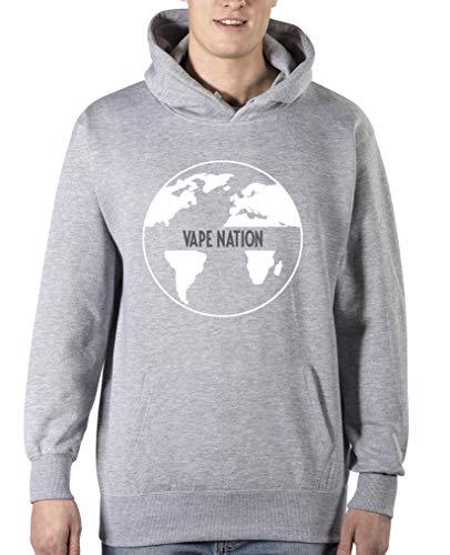 Comedy Shirts - Vape Nation Globus - Herren Hoodie - Grau / Weiss-Grau Gr. L