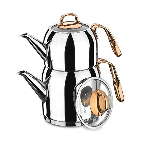Korkmaz Turco Tetera Tea Pot A192Rosanna Plata Rose Gold también Inducción Caydanlik