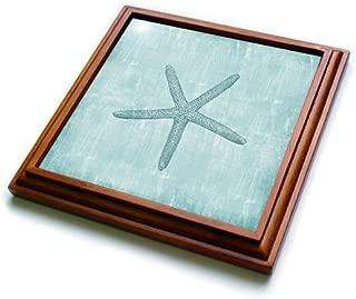 3dRose trv_178911_1 Aqua Starfish Abstract beach theme-Trivet with Ceramic Tile, 8