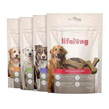 Marque Amazon - Lifelong - Friandises pour chiens, riches in protéines - sélection mixte : agneau, canard, dinde et bœuf (4 pack x 300gr)
