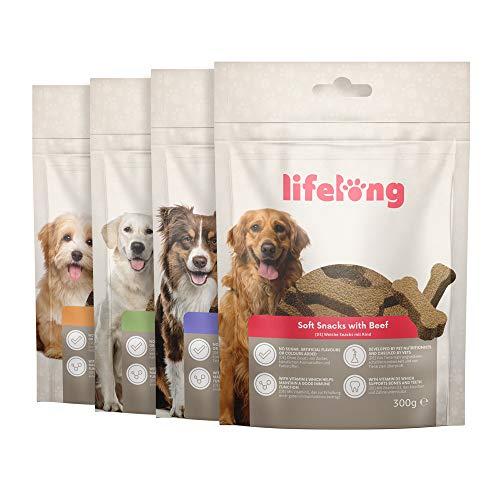 Marchio Amazon - Lifelong - Snack per cani, ricco di proteine -selezione mista - agnello, anatra, tacchino e manzo (4 confezioni da 300gr)
