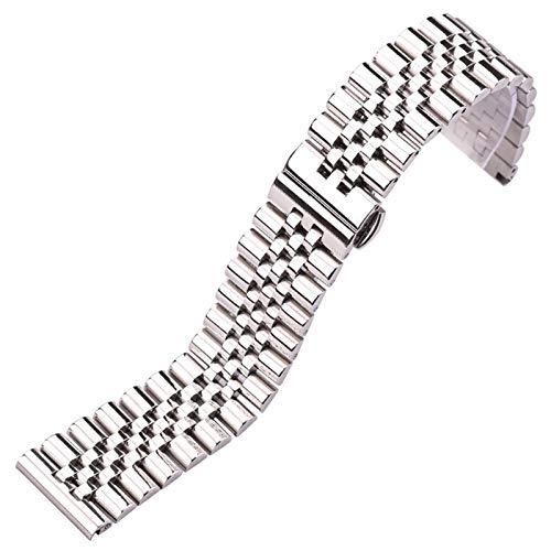 ZZDH Correas Relojes Acero Inoxidable Correa de Acero Inoxidable Plata Pulida 16 18 19 20 21 22 mm Correa de Metal (Band Color : Silver, Band Width : 21mm)