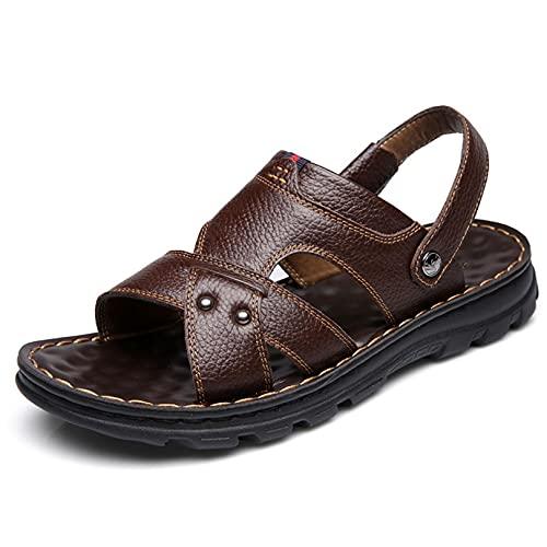 YIA Zapatillas de los hombres de verano zapatos de los hombres de suela suave casual zapatos de playa de doble propósito sandalias de cuero de vaca de los hombres 40 marrón