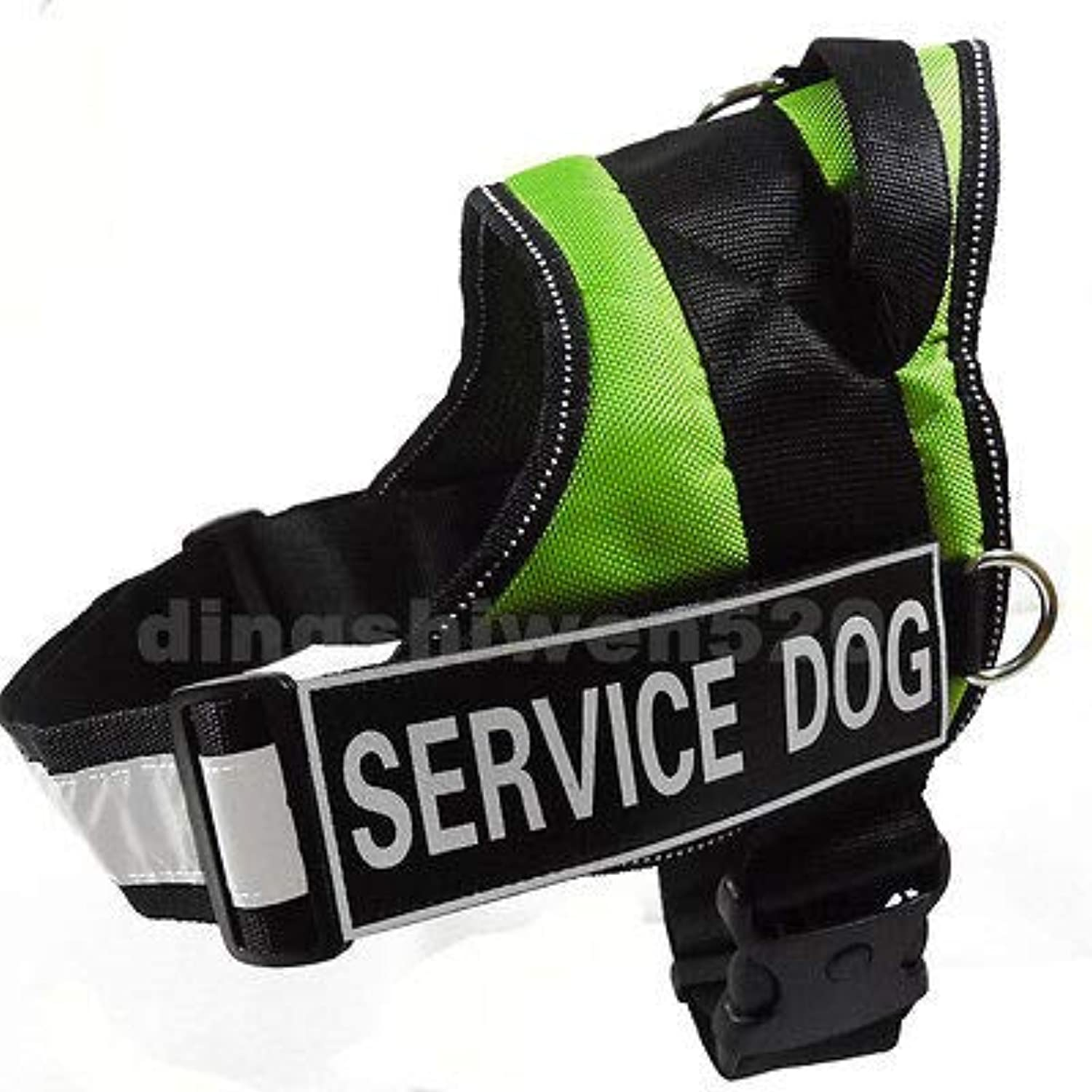 FidgetGear New Padded Service Dog Harness Vest Reflective Safe Removable Label Patches Green Small 2427