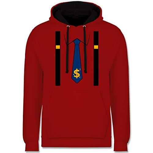 Shirtracer Karneval & Fasching - Anzug Kostüm mit Dollarzeichen Krawatte - M - Rot/Schwarz - JH003_Hoodie_Unisex - JH003 - Hoodie zweifarbig und Kapuzenpullover für Herren und Damen