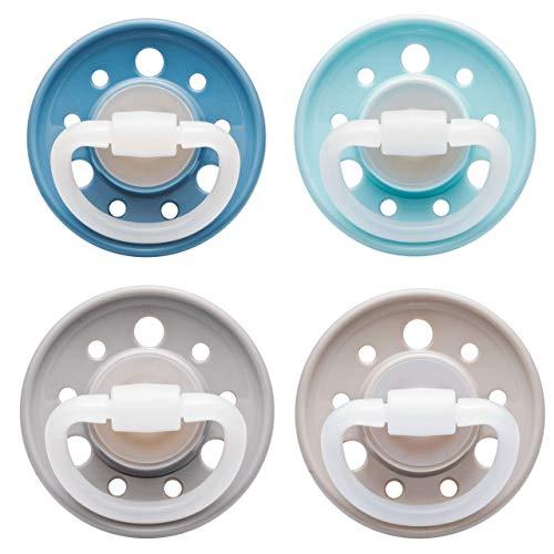 NIP Schnuller Cherry kirschförmig: BPA-Frei, Größe 1, 0-6 Monate, Latex, Blau/Grau/Türkis/Braun Erdig, 4 Stück