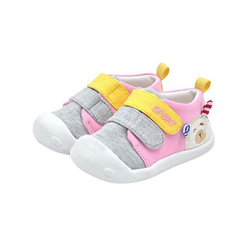 DEBAIJIA Bebé Primeros Pasos Zapatos 1-2 años Niños Niñas Infante Antideslizante Suave Suela Algodón Transpirable Ligero 18 EU Rosa (Tamaño de la etiqueta-14)