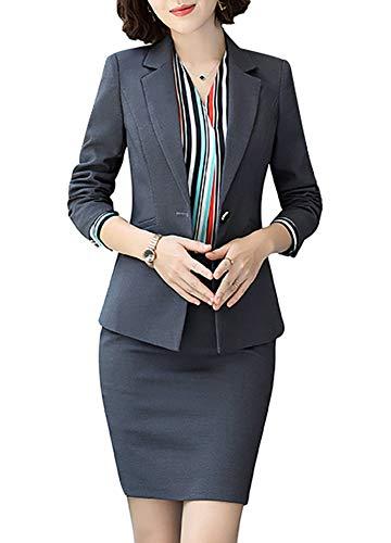 Women's Business Office 1 Button Blazer Jacket and Pants Suit Set(Blazer and Pants-Dark Gray,Medium)