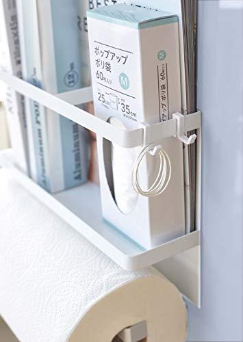 山崎実業 Plate マグネットキッチンペーパー&ラップホルダー ホワイト 約29X8X20cm 4291