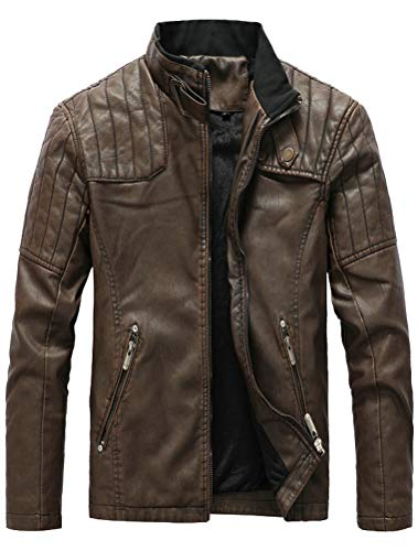 FTCayanz Men's Faux Leather Jacket Slim Fit Stand Collar PU Motorcycle Jackets Lightweight Classic Coffee Medium