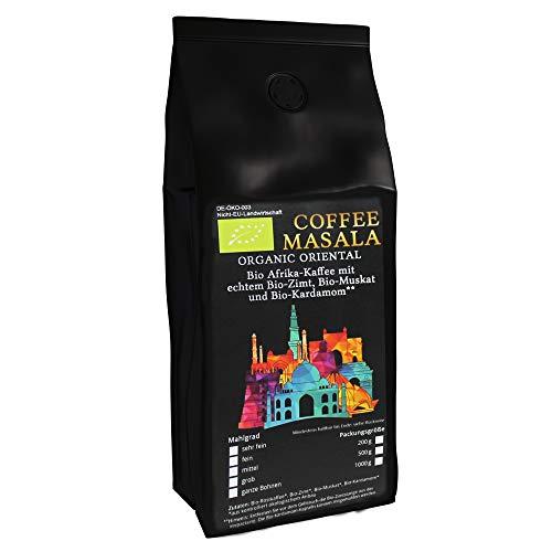 Coffee Masala - Bio Kaffee aus Afrika mit Bio-Zimtstange, Bio-Muskat und Bio-Kardamom (200 g Grob Gemahlen (Stempelkanne))
