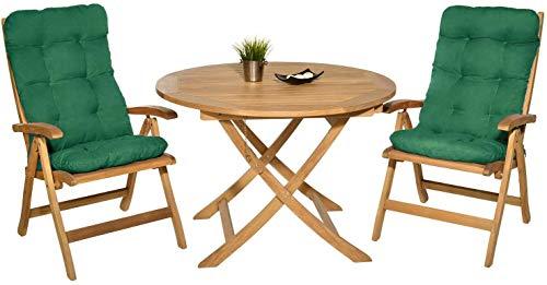 1 Unidad de Cojín con Respaldo para Sillas de terraza y jardín. Cojin con Respaldo para sillas, cojín Acolchado, cojín Mecedora terraza. Cojín Silla Madera (Verde)