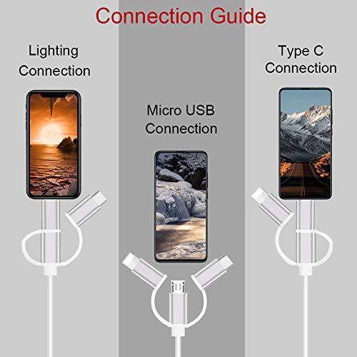 MHL HDMI Kabel, Tihokile 1080P USB C Micro USB Lighting auf HDMI 3 in 1 Adapterkabel für Smartphone Tablet auf TV Projektor Monitor, kompatibel mit Huawei/Samsung Galaxy Note/Sony/LG