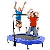 Binxin Mini Rebounder Trampoline Foldable Trampoline Indoor/Outdoor Cardio with Adjustable Handle for Two Kids Parent-Child (Max Load 220lbs)