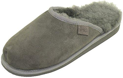Extra Dicke Lammfell Pantoffeln für Herren, Farben:grau, Schuhgröße:44
