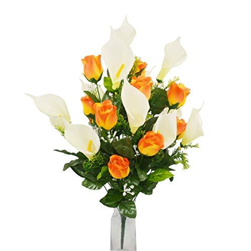 xunniu Flores Artificiales Flores Falsas Ramo Simulación Rosa Calla Lily Ramo De Plástico Artificial 24 Piezas Mesa De Comedor Casa Al Aire Libre Boda Cementerio Ramo(Naranja)