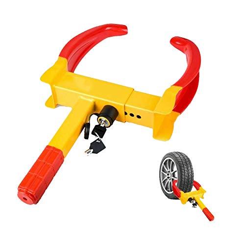 Hoodie Cepo para neumáticos Candado inmovilizador Extensible de Rueda Dispositivo de Cierre antirrobo para automoviles Ajustable 23-38cm (9'' - 14' ') Contiene una Cerradura 2 Llaves(2 Piezas)