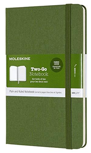 Moleskine Classic Notebook, Taccuino con Pagine Bianche e a Righe, Copertina Rigida in Cotone Canvas e Chiusura ad Elastico, Formato Medium 11,5 x 18 cm, Colore Verde Erba, 144 Pagine