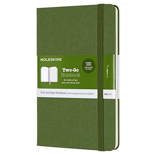Moleskine Notebook Classic Pagina Bianca e a Righe, Taccuino Rigida Morbida in Cotone Canvas e Chiusura ad Elastico, Colore Verde Erba, Dimensione Media 11, 5 x 18 cm, 144 Pagine