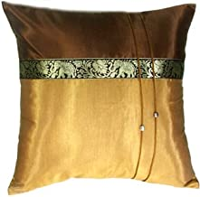 Artiwa 16x16 Gold & Brown Throw Decorative Silk Pillow Cover : Thai Elephants Gift Idea