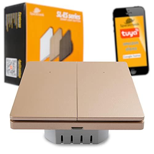 Interruptor de luz WiFi Smart Home, interruptor de pared / Tuya/Alexa/Google, mando a distancia, bonito diseño, Spacetronik (2 x Golden Charm)