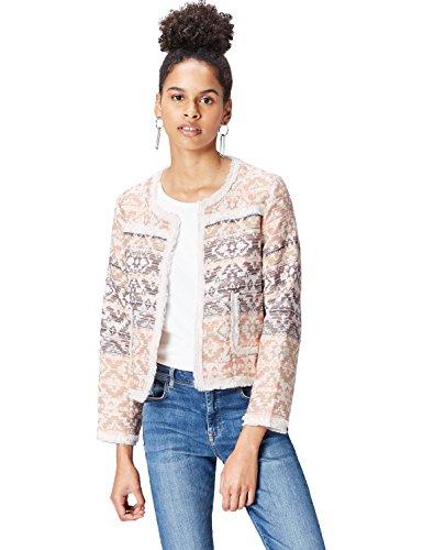 find. Jacke Damen aus Jacquard, mit Fransen, offener Front, Aztekenmuster und Taschen, Rosa (Pink Mix), 40 (Herstellergröße: Large)